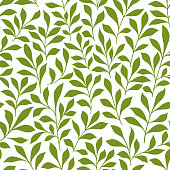 Green twigs with leaves seamless pattern