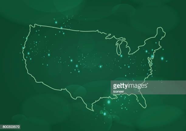 Unterwasser Karte grün USA auf spacigen Hintergrund