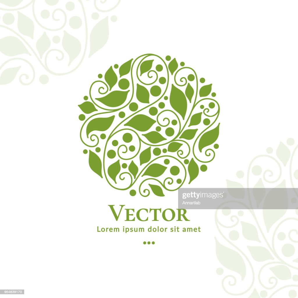 Green vector organic emblem. Excellent for beauty and fashion industry. Elegant, classic element.