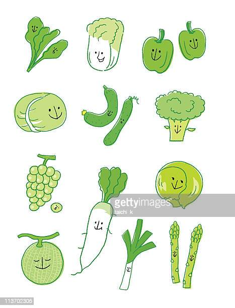 Green vegetable and fruit