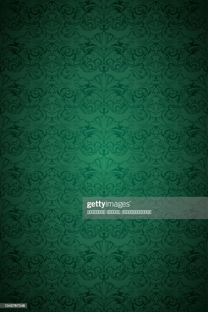 Green vintage background, royal with classic Baroque pattern