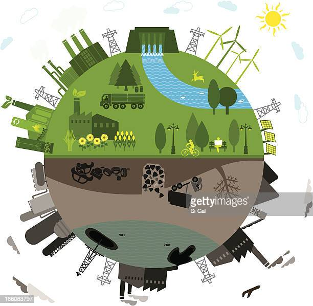 green vs. polluted - electricity stock illustrations, clip art, cartoons, & icons