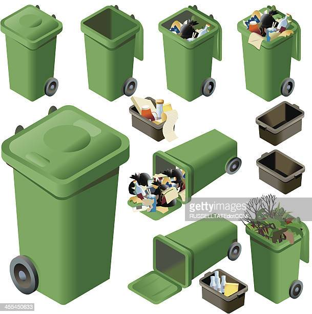 green waste - garbage bin stock illustrations