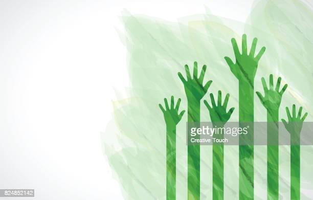 green watercolor human hands - refugee stock illustrations