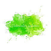 Green Watercolor splatters. Vector illustration