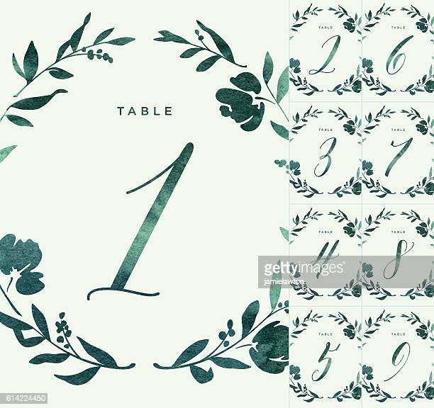 green watercolour wedding table numbers - number stock illustrations