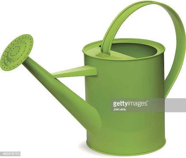 green watering can - watering can stock illustrations
