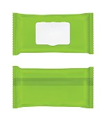 Green wet wipes package with flap