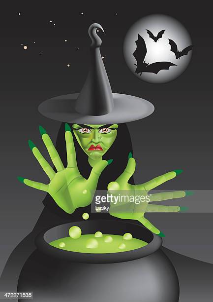 green wicked witch with cauldron - cauldron stock illustrations, clip art, cartoons, & icons