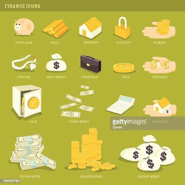 グリーン、嫉妬:お金、金融のアイコン