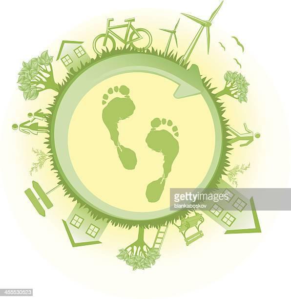 green world logo with footprint - surrounding stock illustrations, clip art, cartoons, & icons