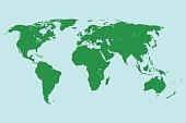green world map. vector