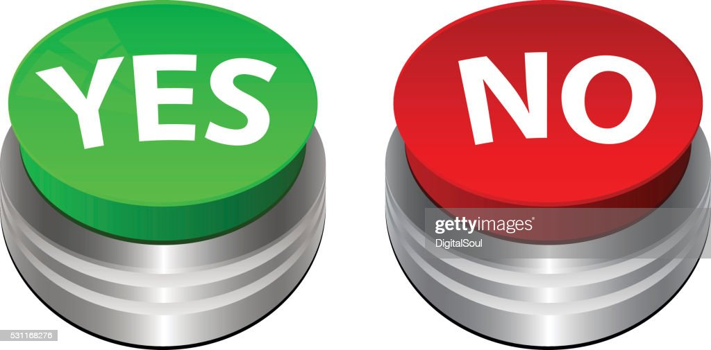 Green Yes Button And Red No Button On A White stock