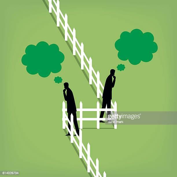 greener grass - the grass is always greener stock illustrations, clip art, cartoons, & icons