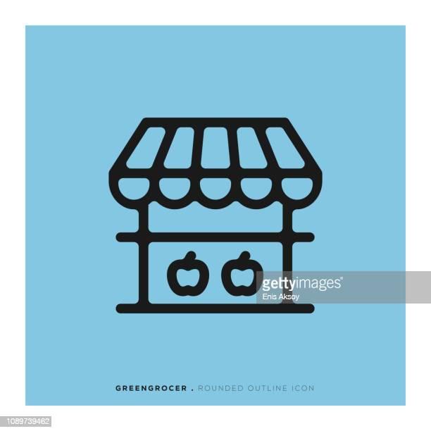 八百屋丸みを帯びた線アイコン - 商売場所 市場点のイラスト素材/クリップアート素材/マンガ素材/アイコン素材