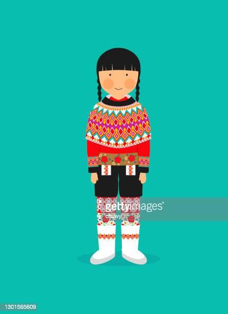 stockillustraties, clipart, cartoons en iconen met groenlands klederdracht voor vrouwen - traditionele kledij
