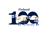 Greeting Card 100 anniversary of the independence of Finland. December 6th Kids symbol