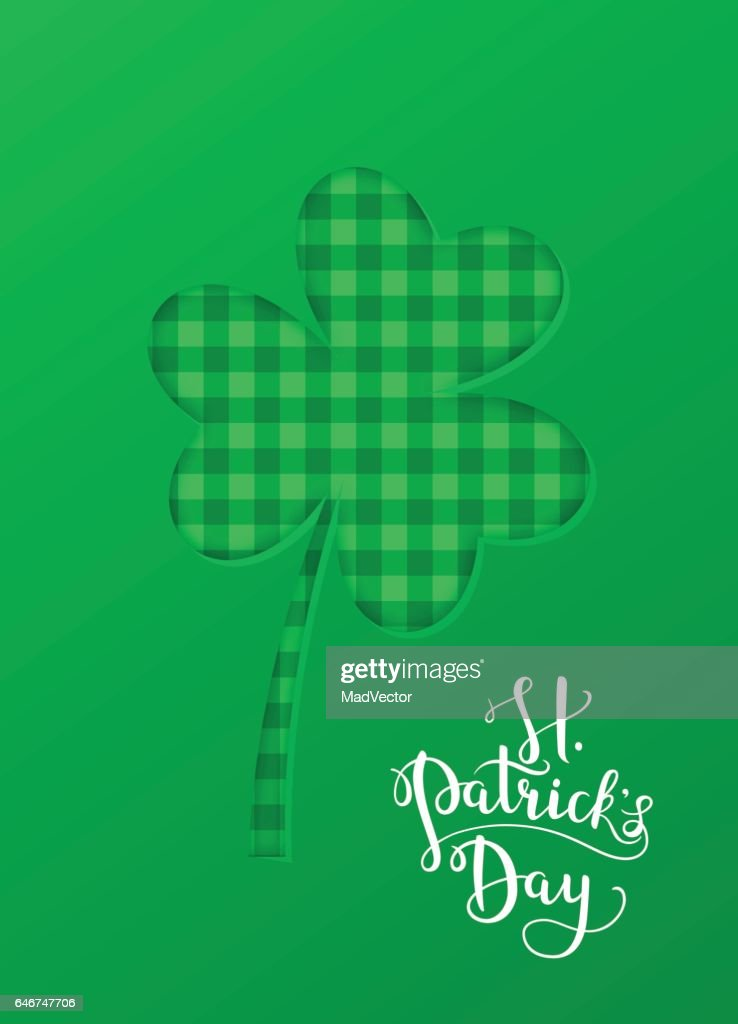 Greeting card, banner, poster etc. with Saint Patrick s day symbol - shamrock. Vector background. National Irish holiday