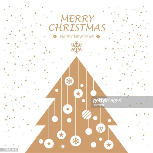 greeting card - christmas tree and ornament illustration series - christmas tree stock illustrations
