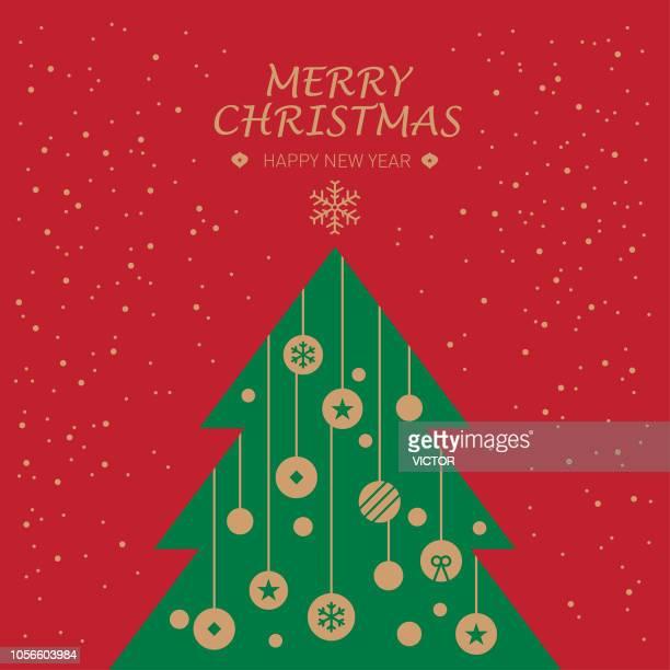 grußkarte - weihnachtsbaum und ornament - abbildung serie - kieferngewächse stock-grafiken, -clipart, -cartoons und -symbole