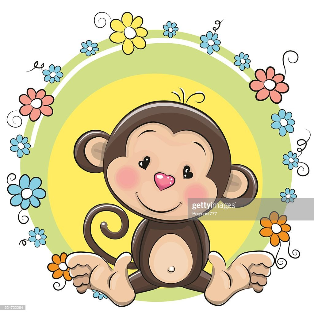 Greeting card cute Monkey