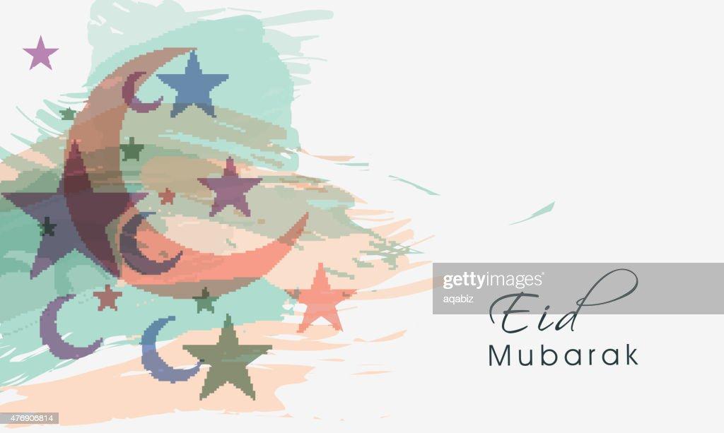 Greeting card design for Eid Mubarak celebration.