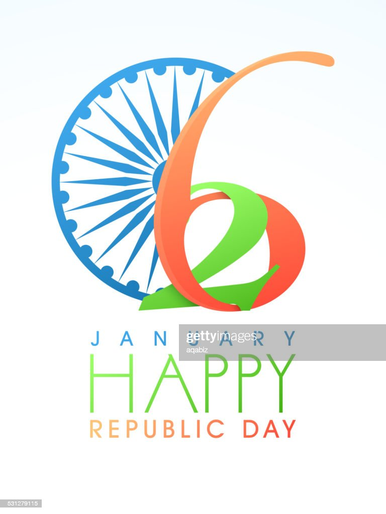 Greeting Card Design For Happy Indian Republic Day Vector Art