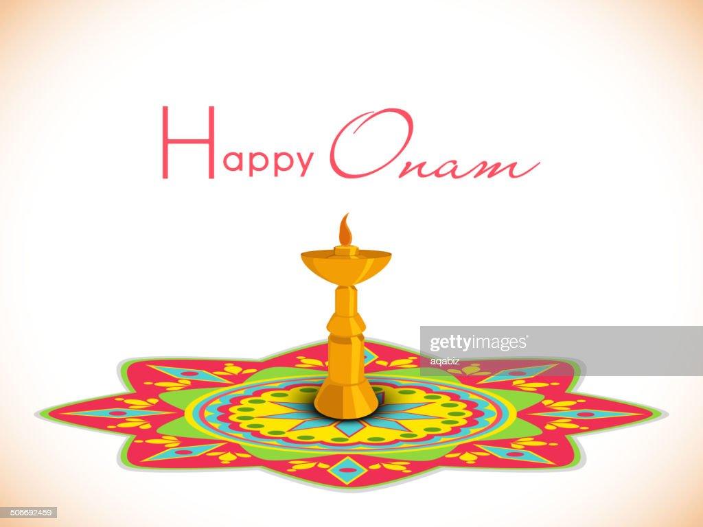 Greeting card design for Happy Onam festival celebrations.