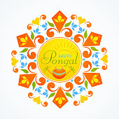 Greeting card design for Pongal festival celebrations.