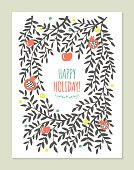 Greeting card design with tree branches, apple and pomegranate.