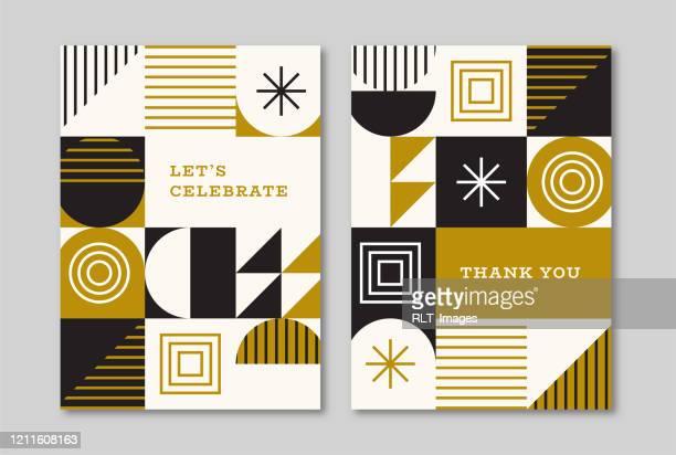 レトロなミッドセンチュリー幾何グラフィックを使ったグリーティングカードデザイン - thank you点のイラスト素材/クリップアート素材/マンガ素材/アイコン素材