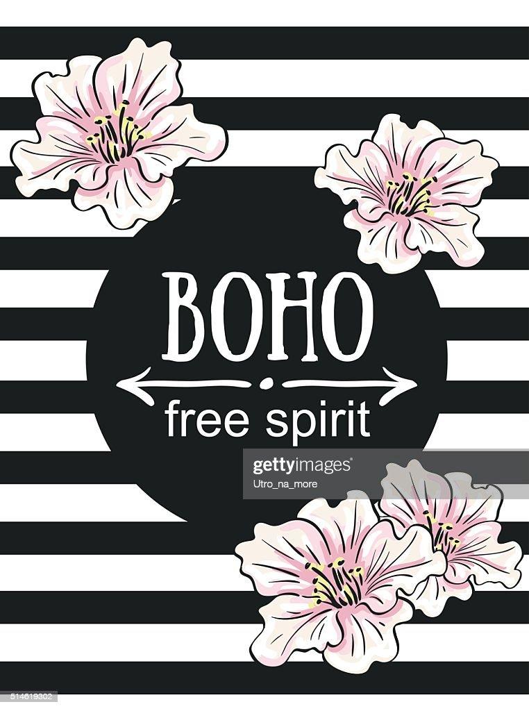 Greeting card flowers - Boho 'free spirit'.Vector hand painting illustration.