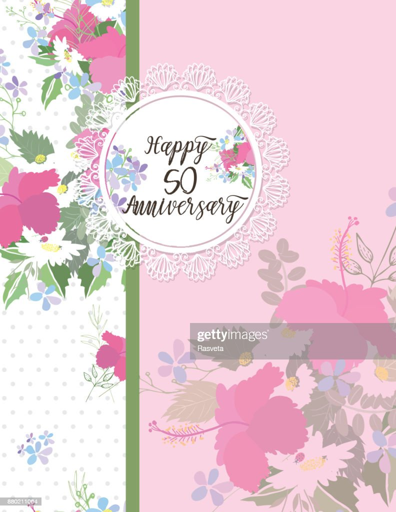 Greeting Card For Anniversary Birthday Vector Art Getty Images