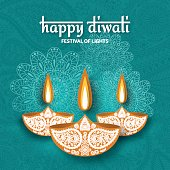 Greeting card for Diwali festival celebration in India