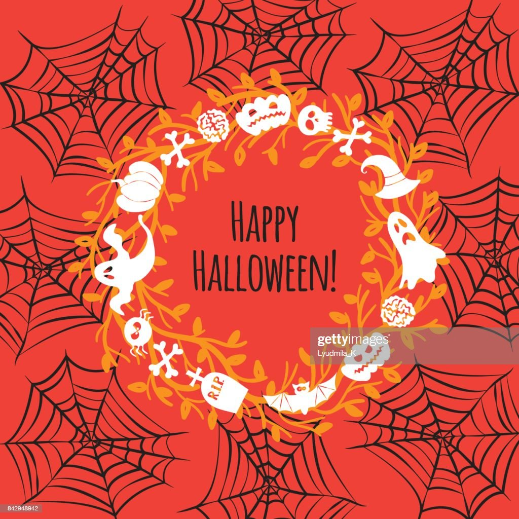 Greeting Card For Halloween Wreath Vector Art Getty Images