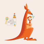 Greeting card for Mother's Day. Kangaroo and a baby.