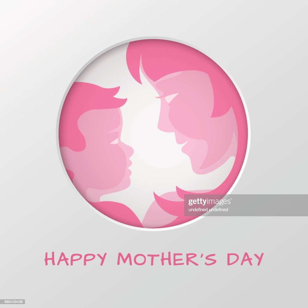Greeting Card For Mothers Day With Cut Out Paper Circle On Backdrop