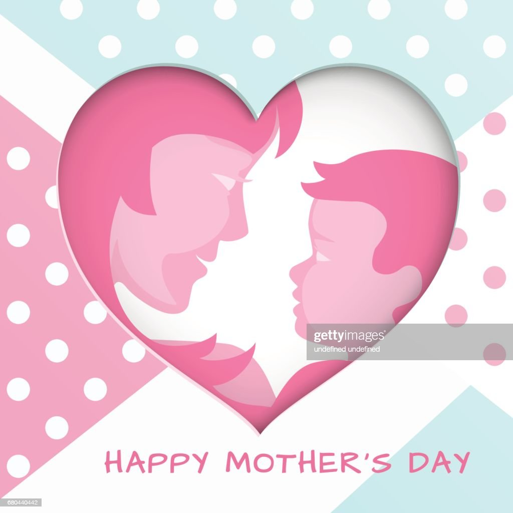 Greeting Card For Mothers Day With Cut Out Paper Heart On Backdrop