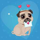 Greeting card for Valentine's Day with a cute pug and a letter.