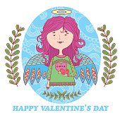 greeting card for Valentine's day with a sweet angel girl.