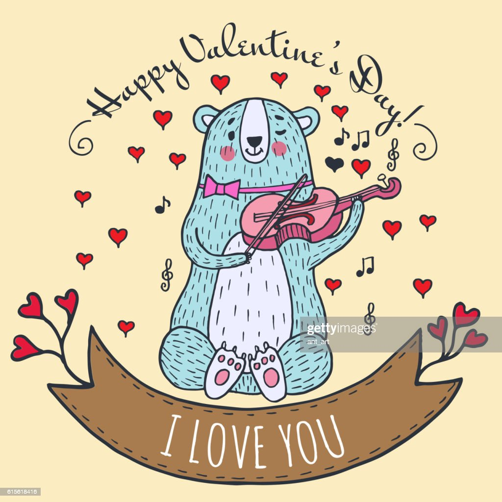 Greeting card for Valentine's Day with teddy bear