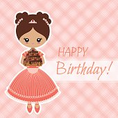 """Greeting card """"happy birthday"""" with the girl holding the cake"""
