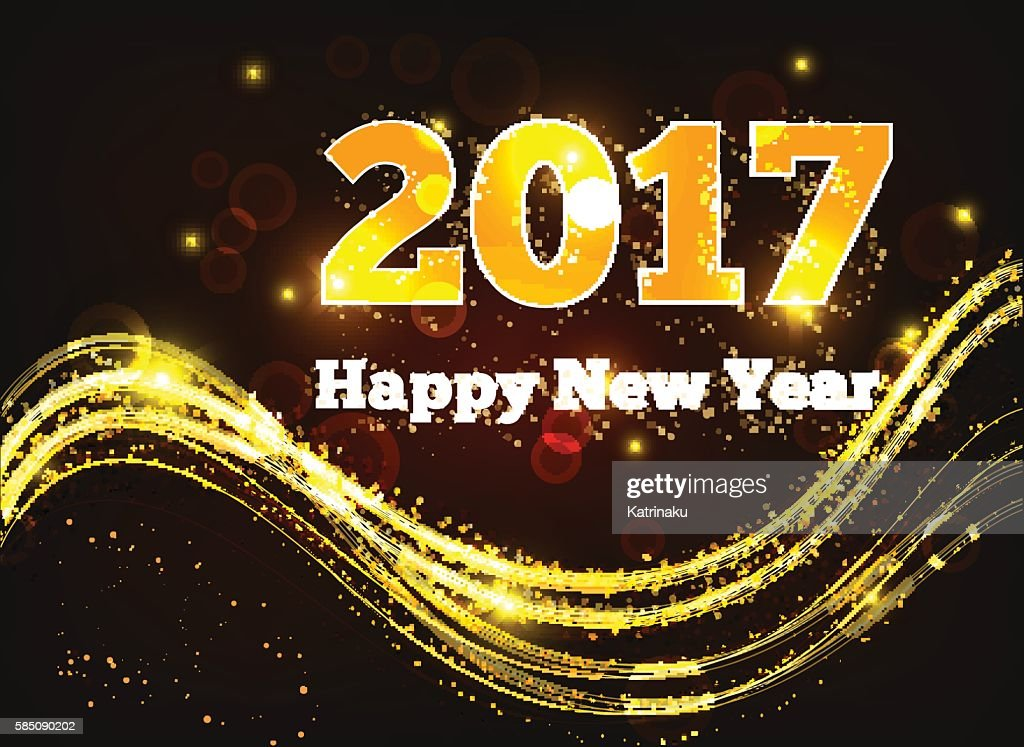 Greeting card Happy New Year 2017. Stars, holiday, shine. Vector