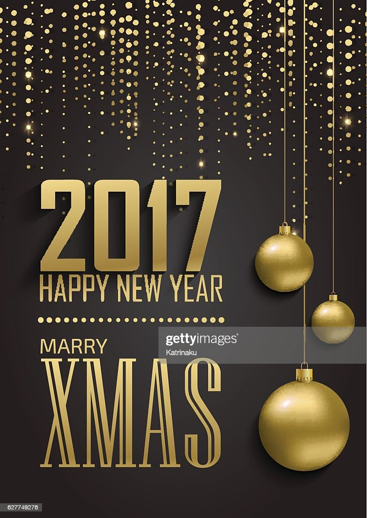 Greeting card, invitation with happy New year 2017 and Christmas.