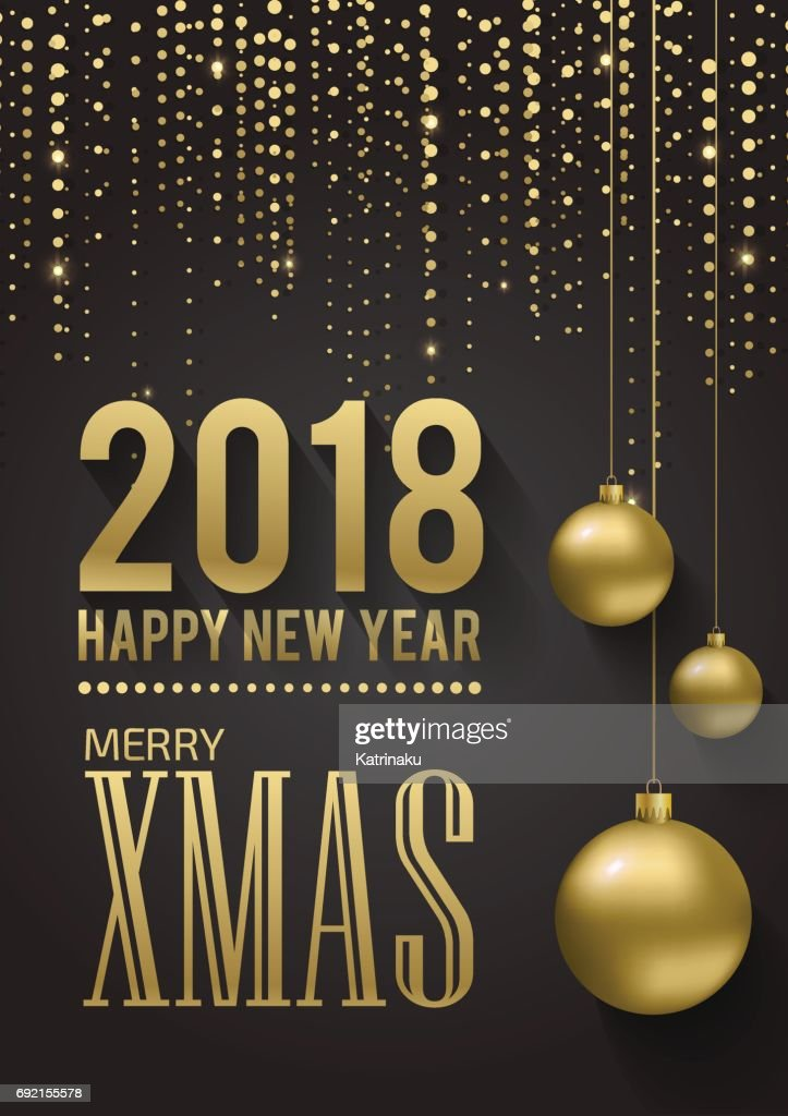 Greeting card, invitation with happy New year 2018 and Christmas. Metallic gold Christmas balls, decoration, shimmering, shiny confetti on a black background. Vector Illustration