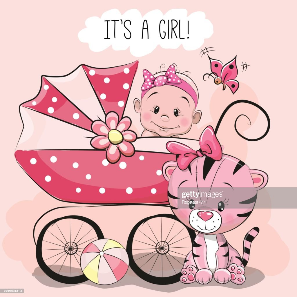 Greeting card it is a girl with baby carriage