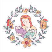 Greeting card mother's day. The best mom. A pretty mother holds cute baby.