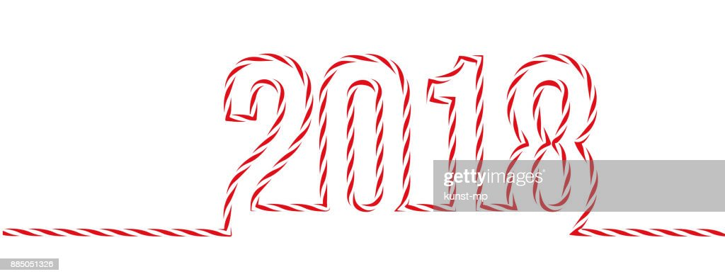Greeting Card New Years Banner New Year 2018 In Redwhite Cord String ...