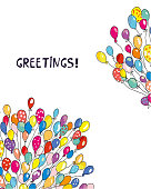 Greeting card or banner with balloons,