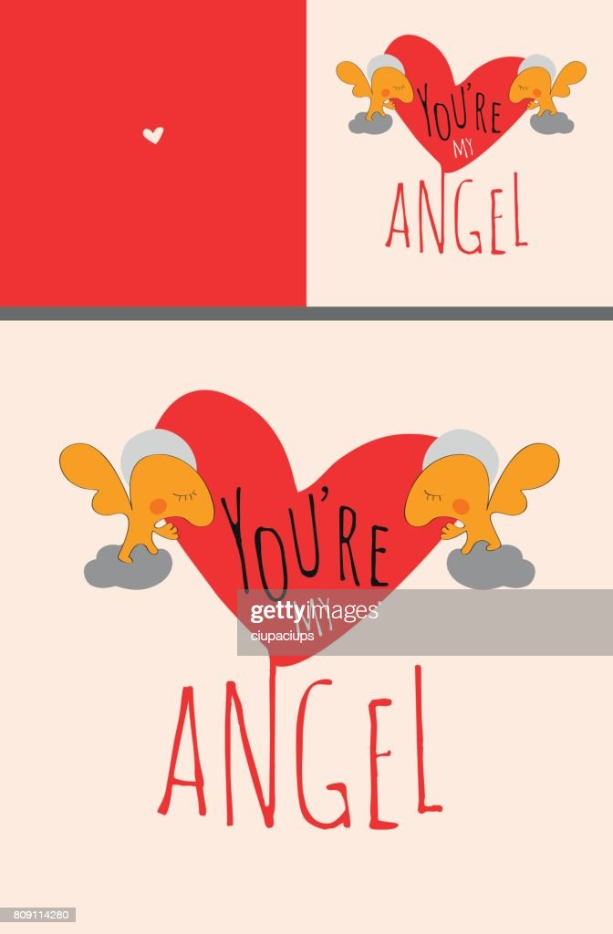 Greeting card set or poster with Angels holding big Valentine heart with text You are my angel.